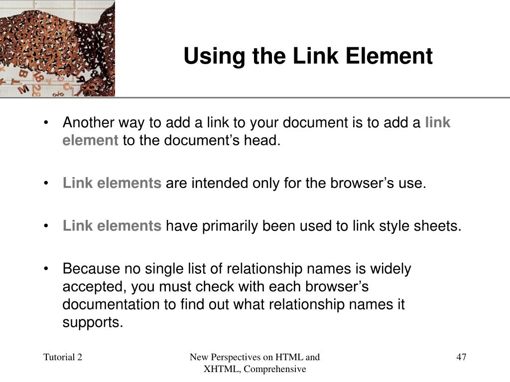 Using the Link Element