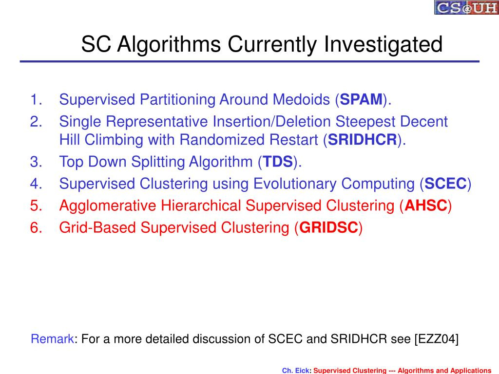 SC Algorithms Currently Investigated