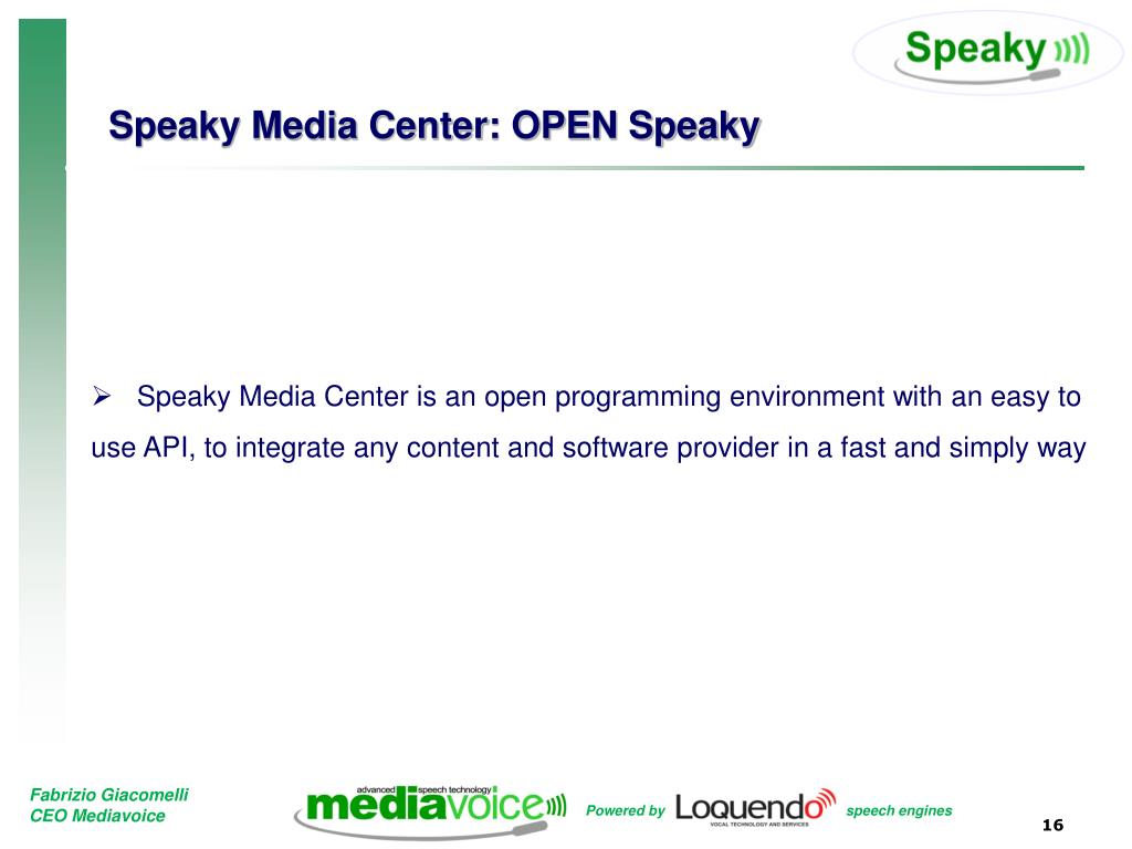 Speaky Media Center: OPEN Speaky