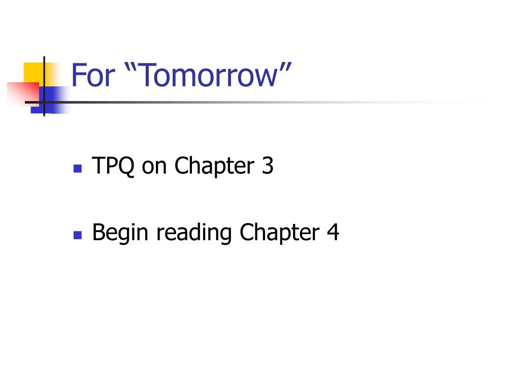 """For """"Tomorrow"""""""