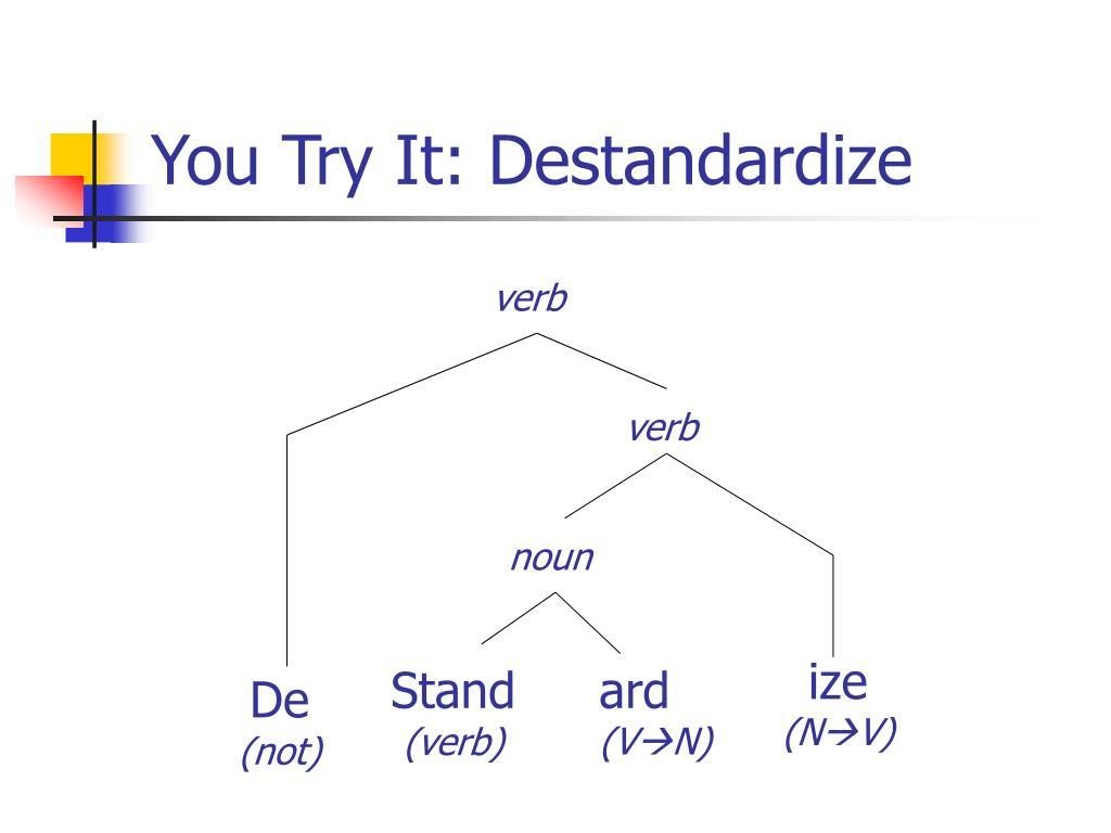 You Try It: Destandardize
