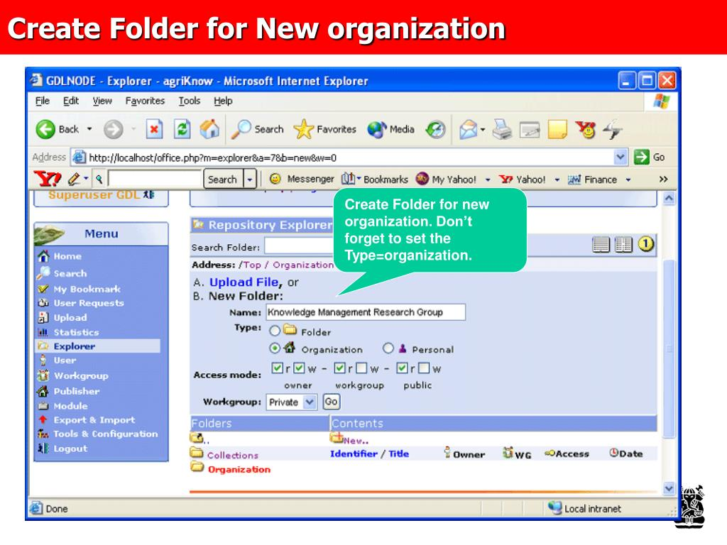 Create Folder for New organization