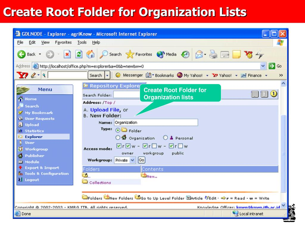 Create Root Folder for Organization Lists