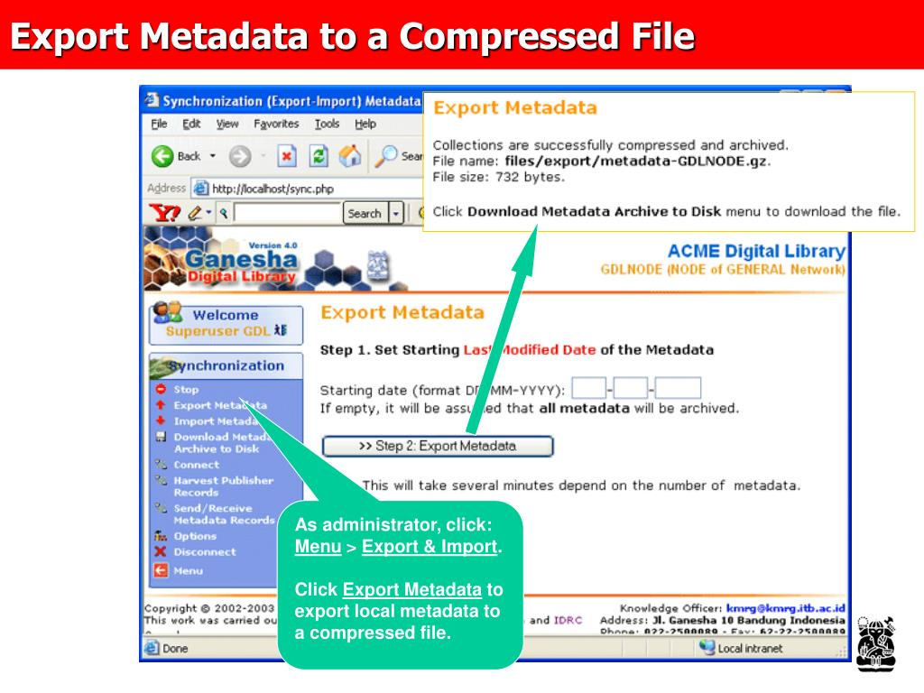 Export Metadata to a Compressed File