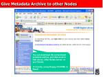 give metadata archive to other nodes