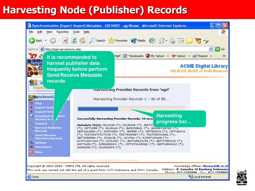 Harvesting Node (Publisher) Records