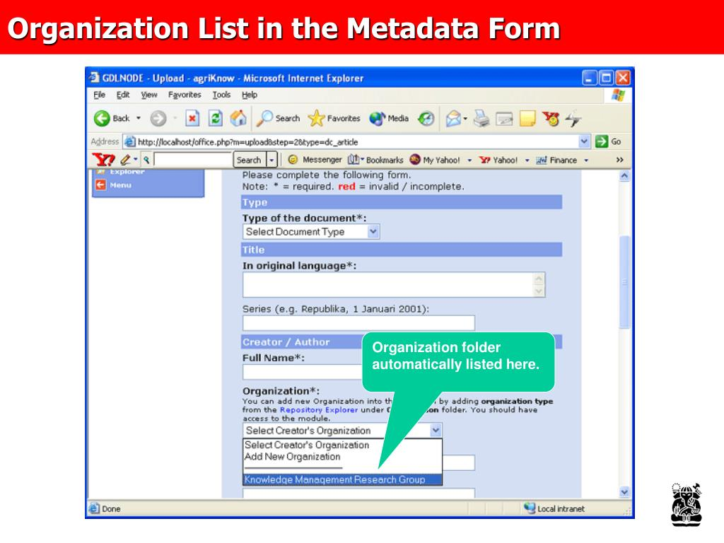 Organization List in the Metadata Form