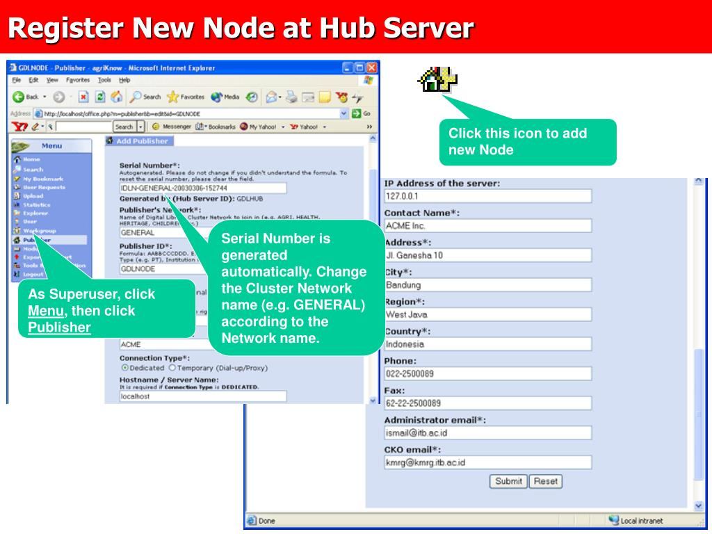Register New Node at Hub Server