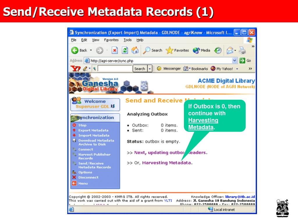 Send/Receive Metadata Records (1)