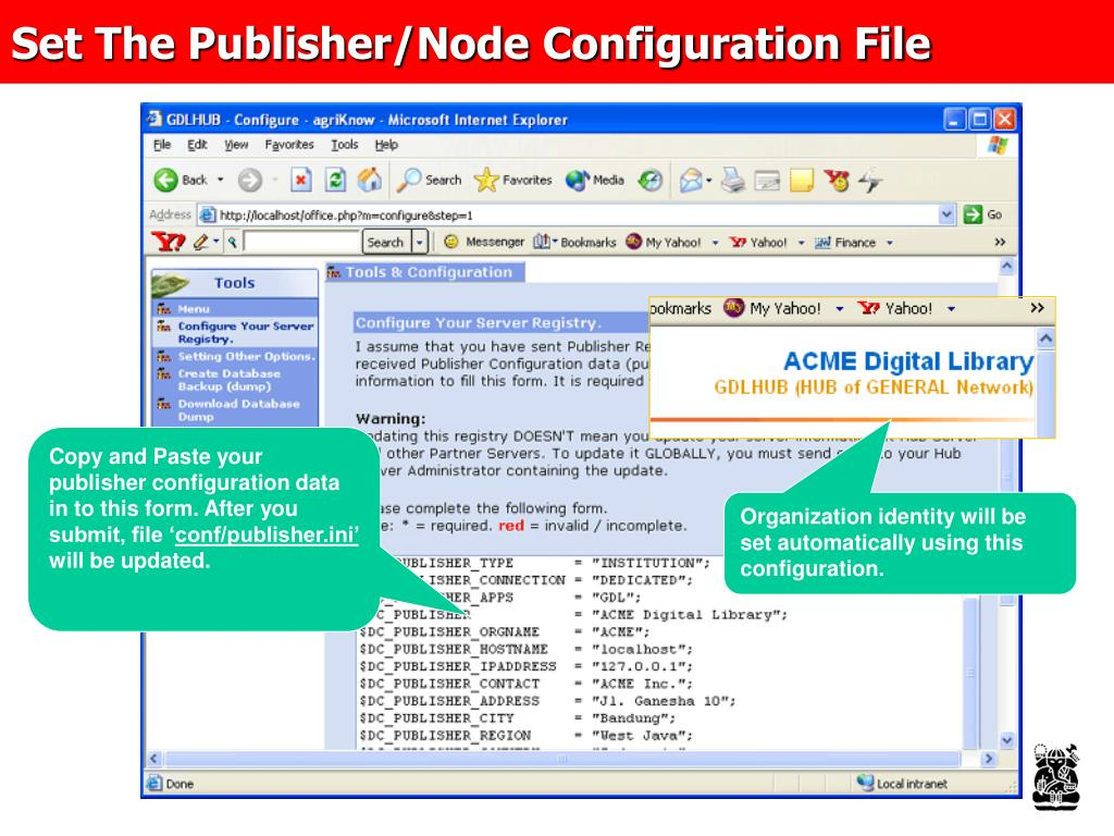 Set The Publisher/Node Configuration File