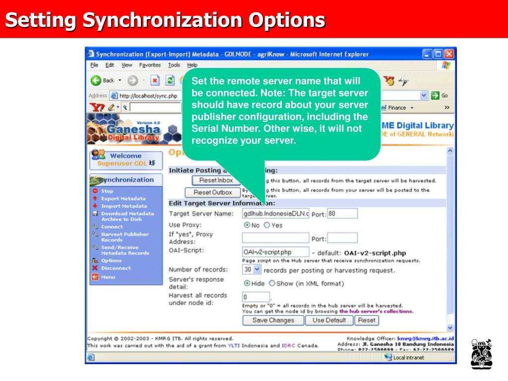 Setting Synchronization Options
