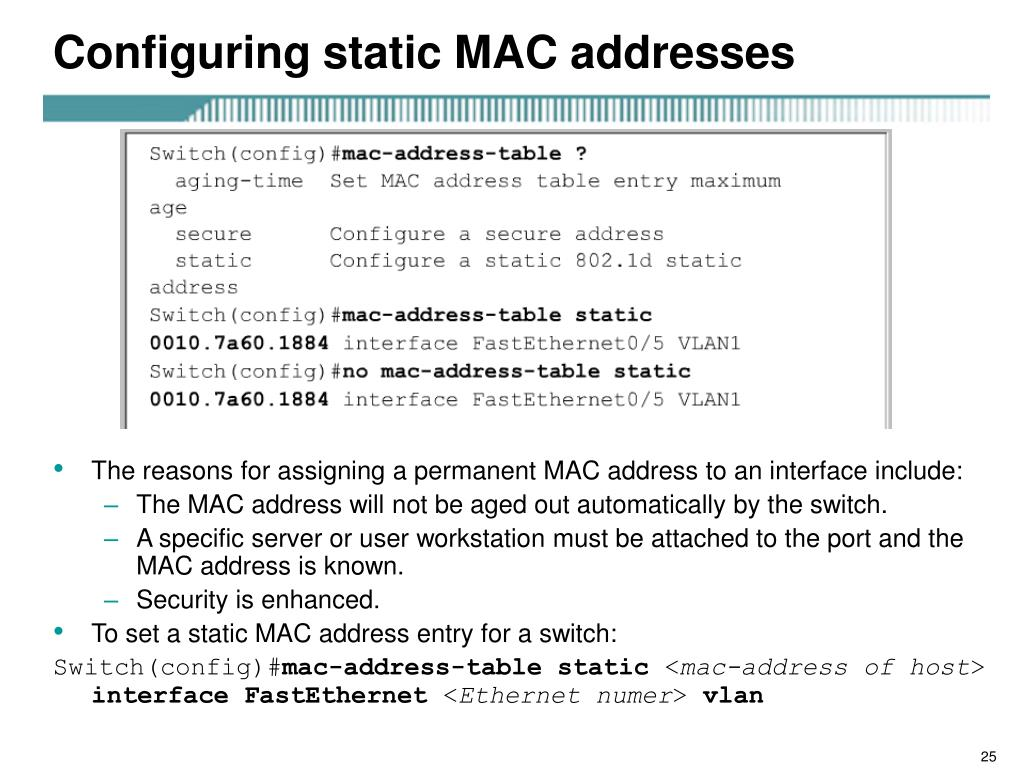 Configuring static MAC addresses