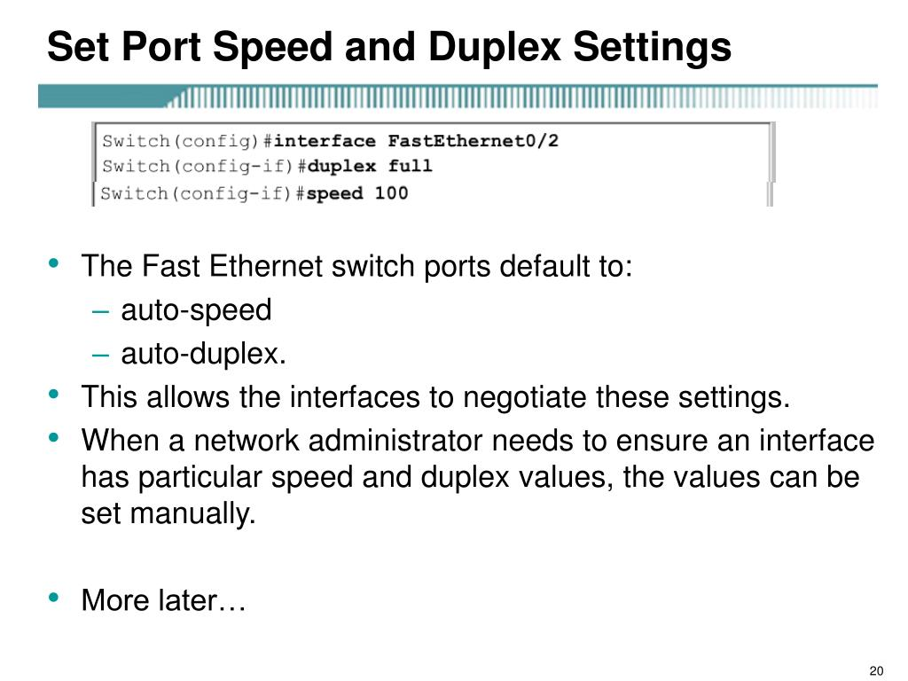 Set Port Speed and Duplex Settings