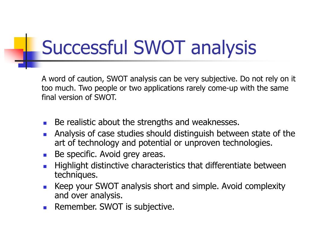 Successful SWOT analysis