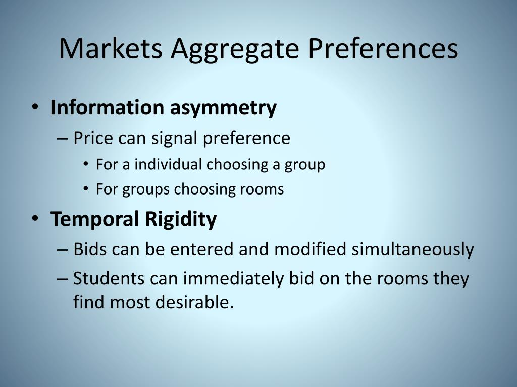 Markets Aggregate Preferences
