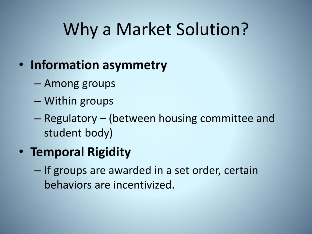 Why a Market Solution?