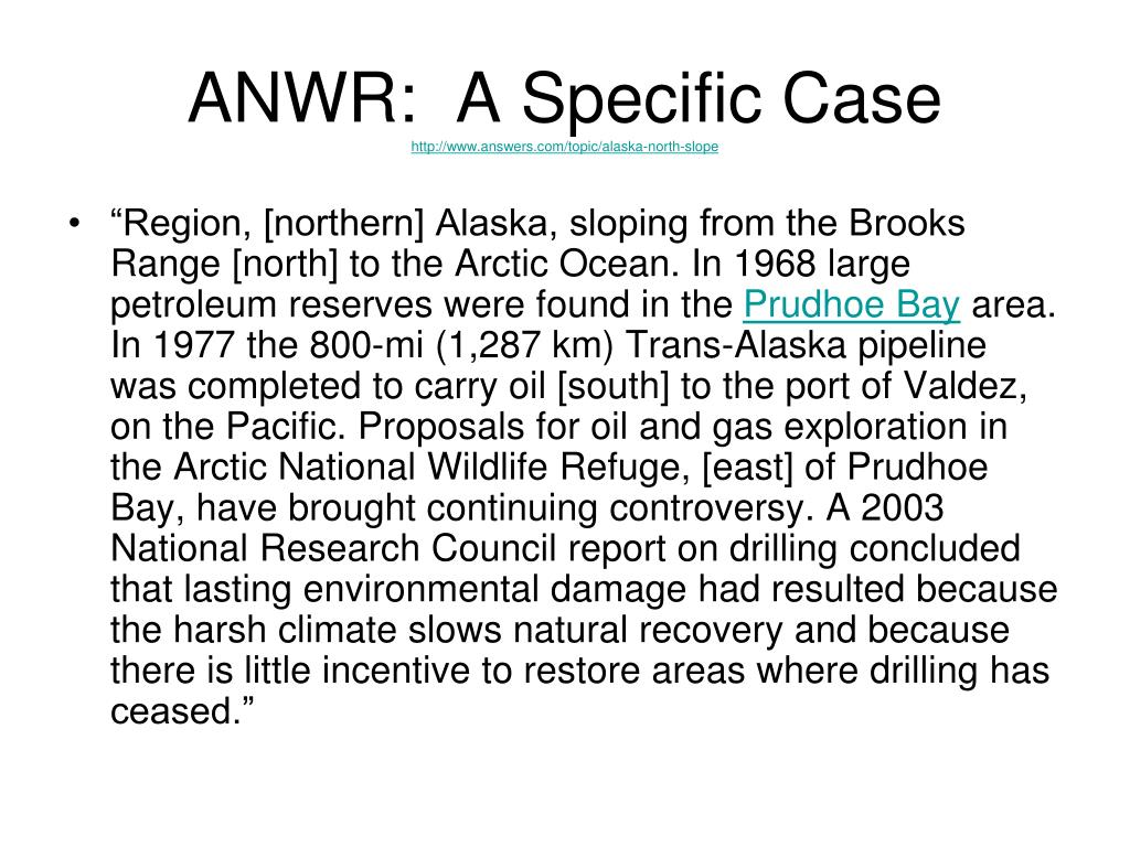 ANWR:  A Specific Case