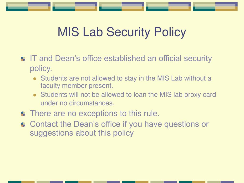 MIS Lab Security Policy