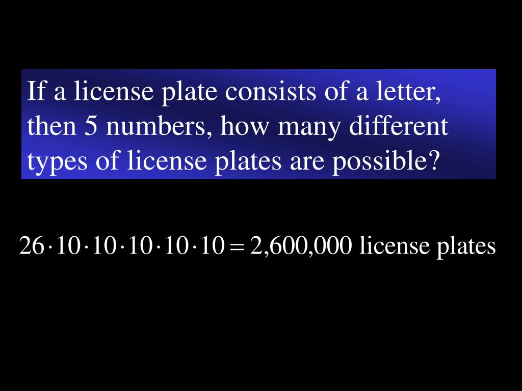 If a license plate consists of a letter, then 5 numbers, how many different types of license plates are possible?