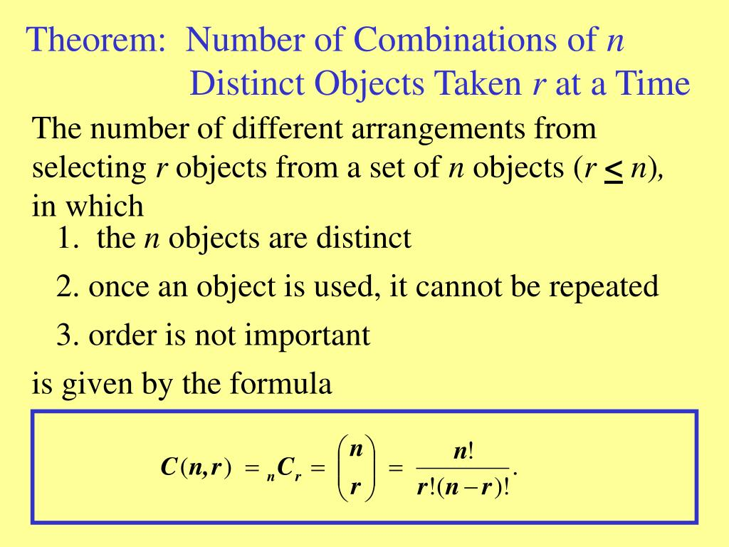 Theorem:  Number of Combinations of