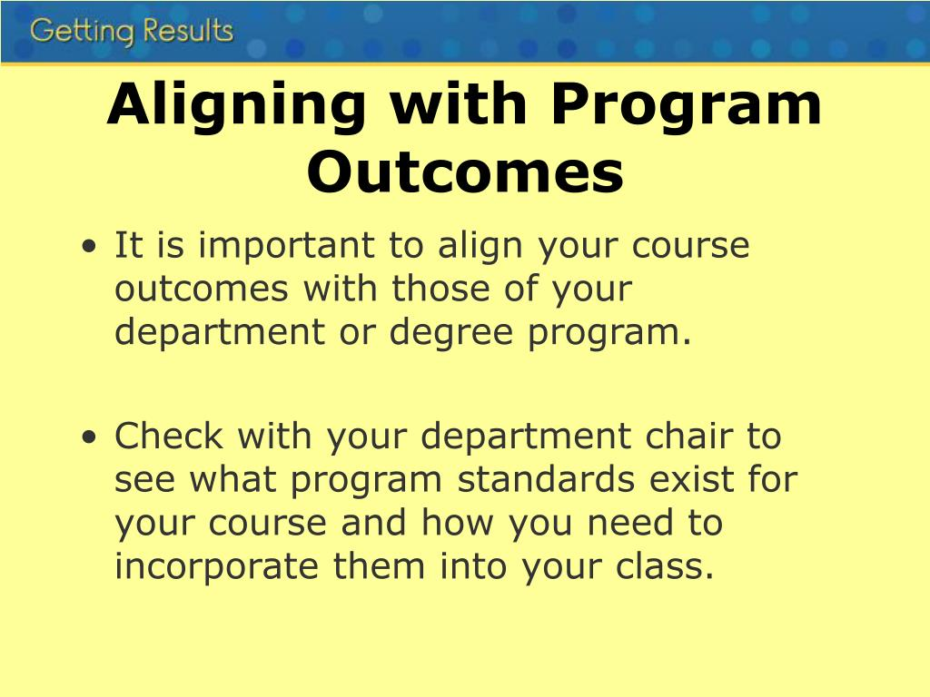 Aligning with Program Outcomes