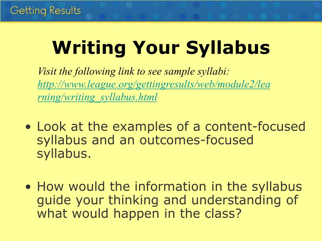 Writing Your Syllabus