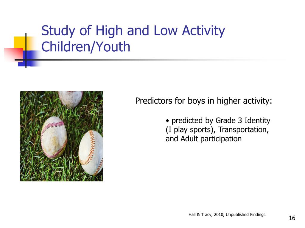 Study of High and Low Activity Children/Youth