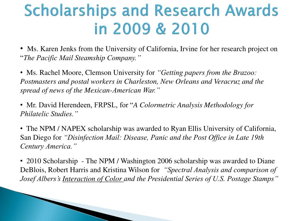 Scholarships and Research Awards in 2009 & 2010