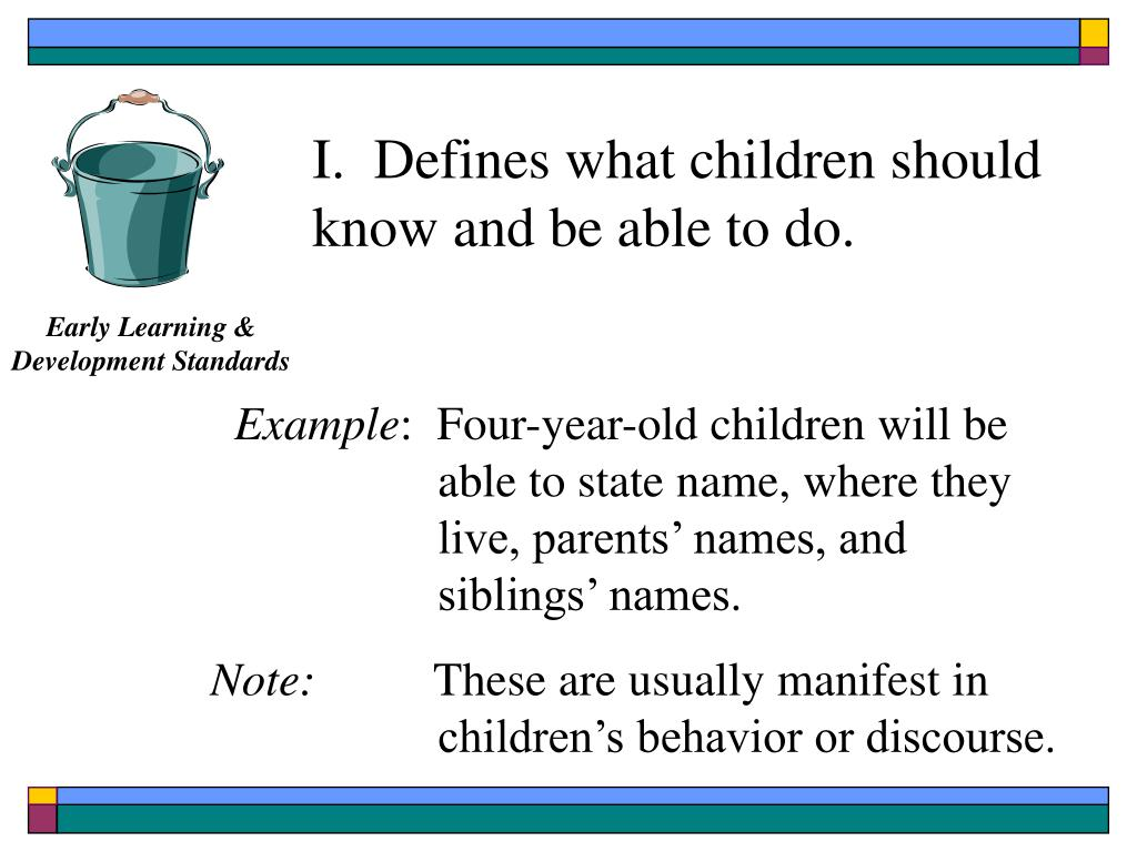 I.  Defines what children should know and be able to do.