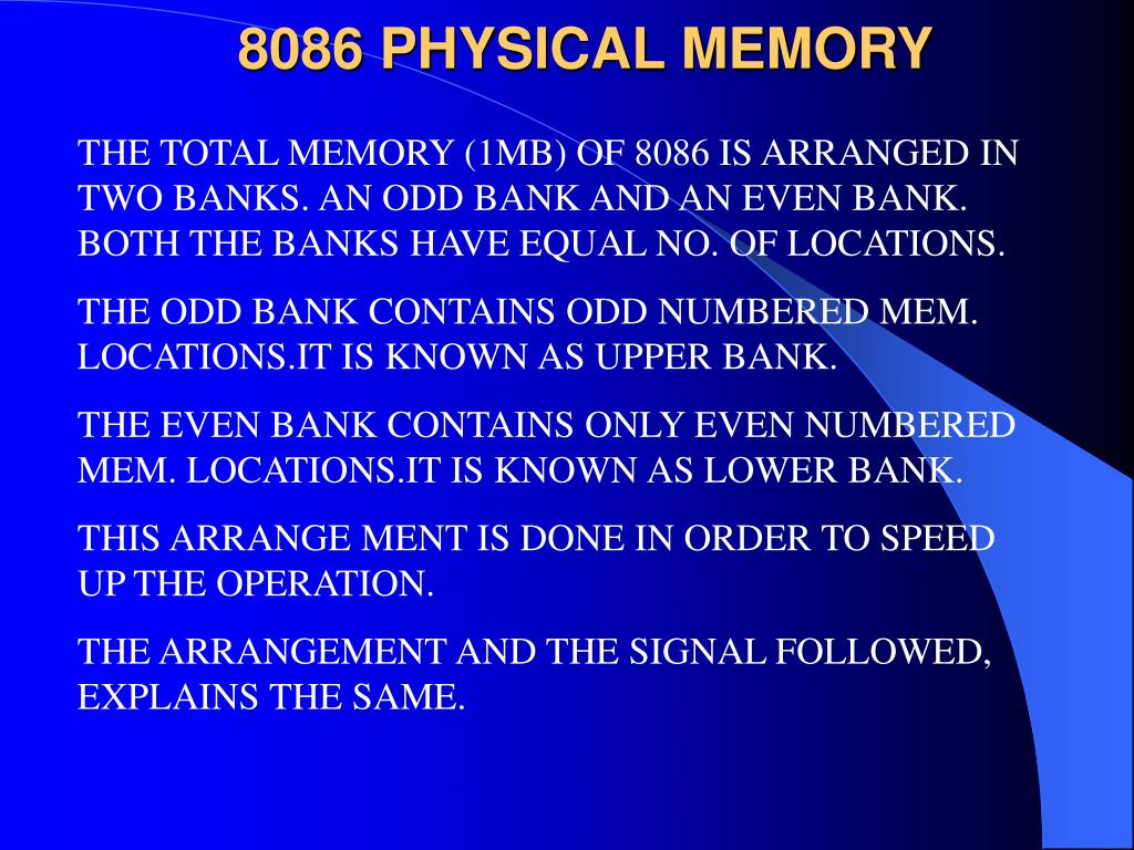 8086 PHYSICAL MEMORY