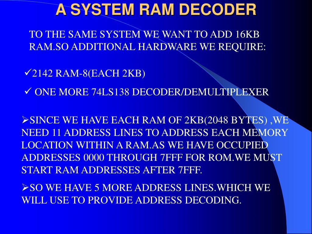 A SYSTEM RAM DECODER