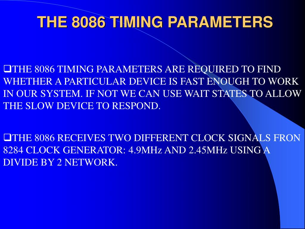 THE 8086 TIMING PARAMETERS