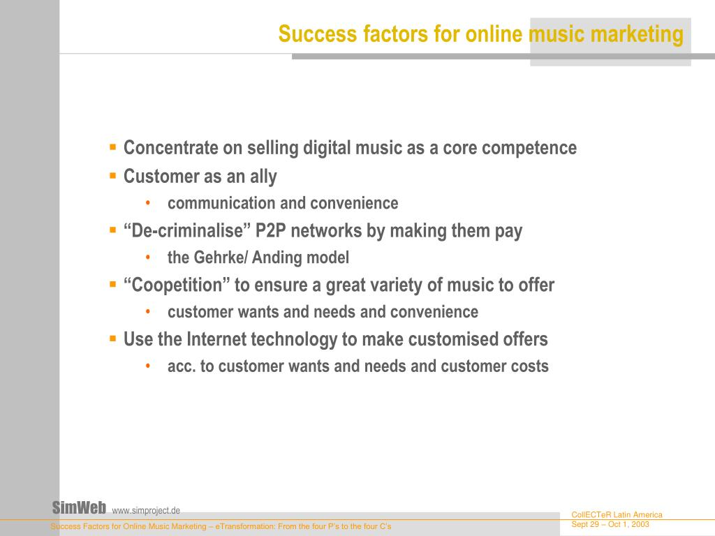 Success factors for online music marketing