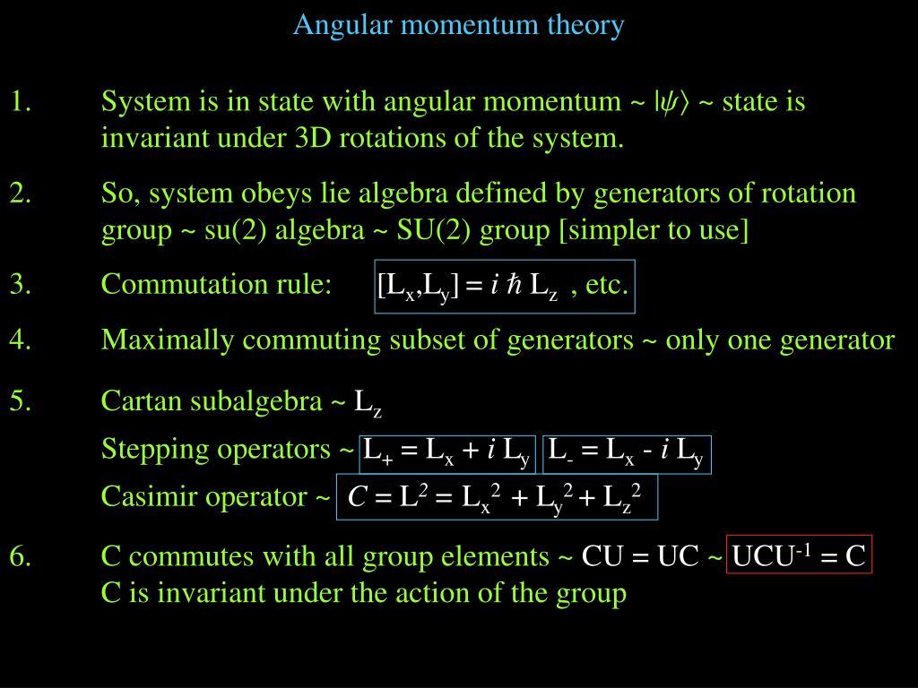 Angular momentum theory