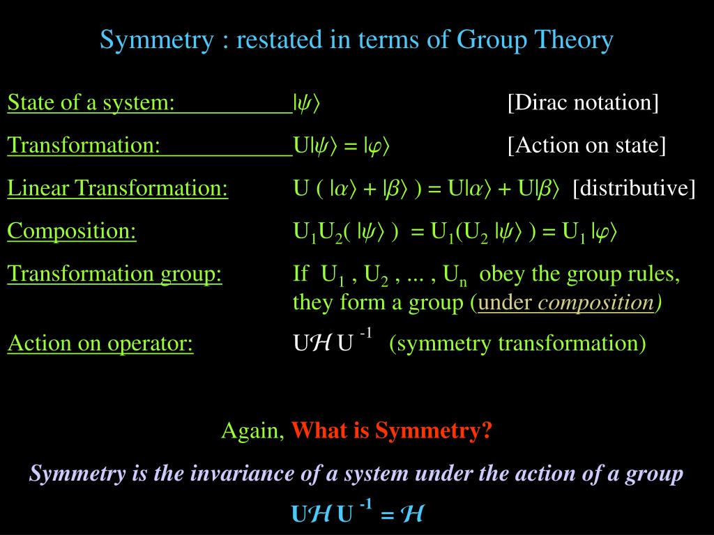 Symmetry : restated in terms of Group Theory