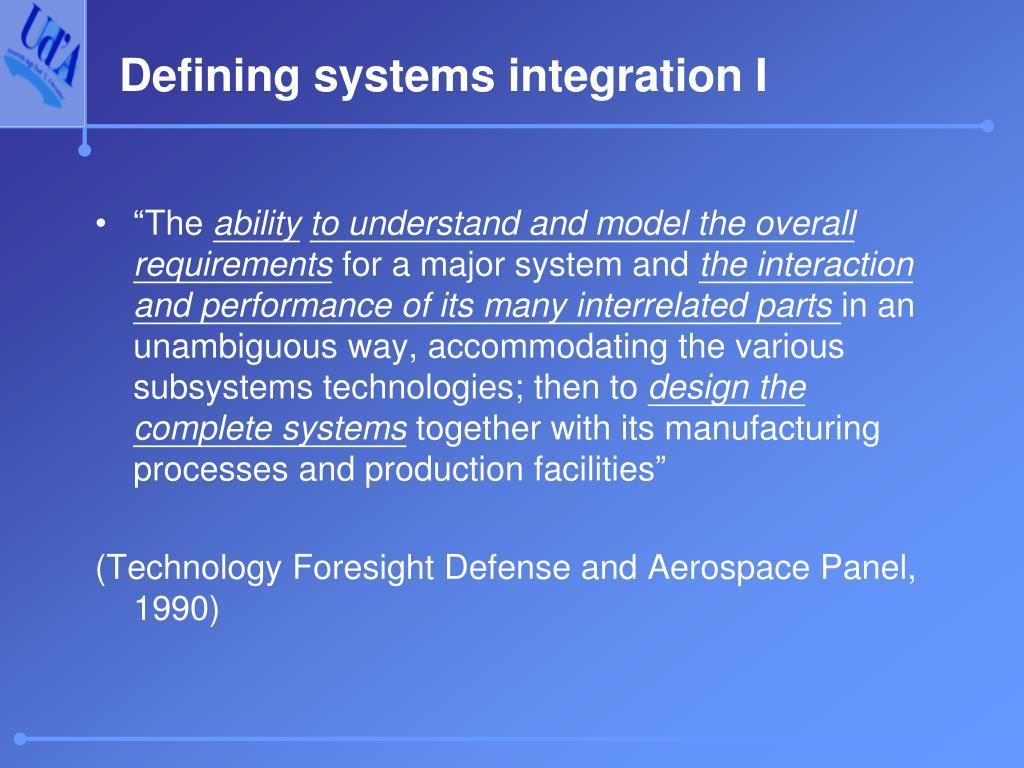 Defining systems integration I