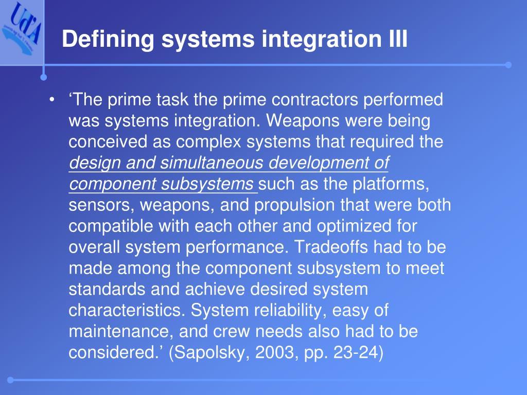 Defining systems integration III