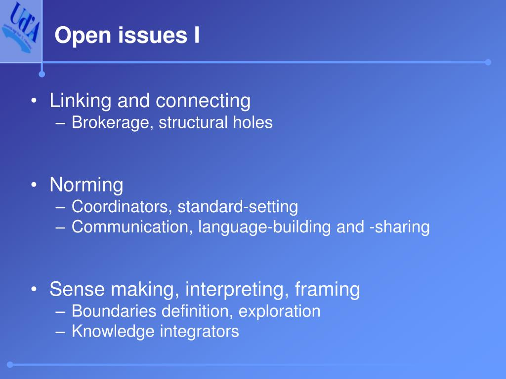 Open issues I