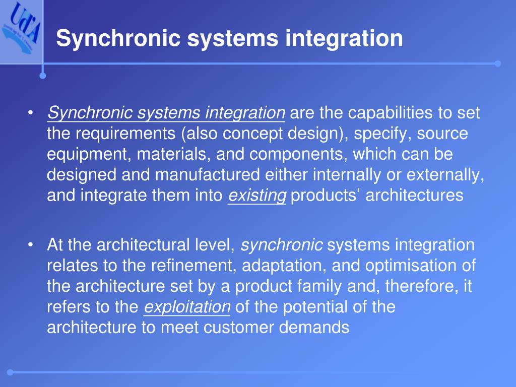 Synchronic systems integration