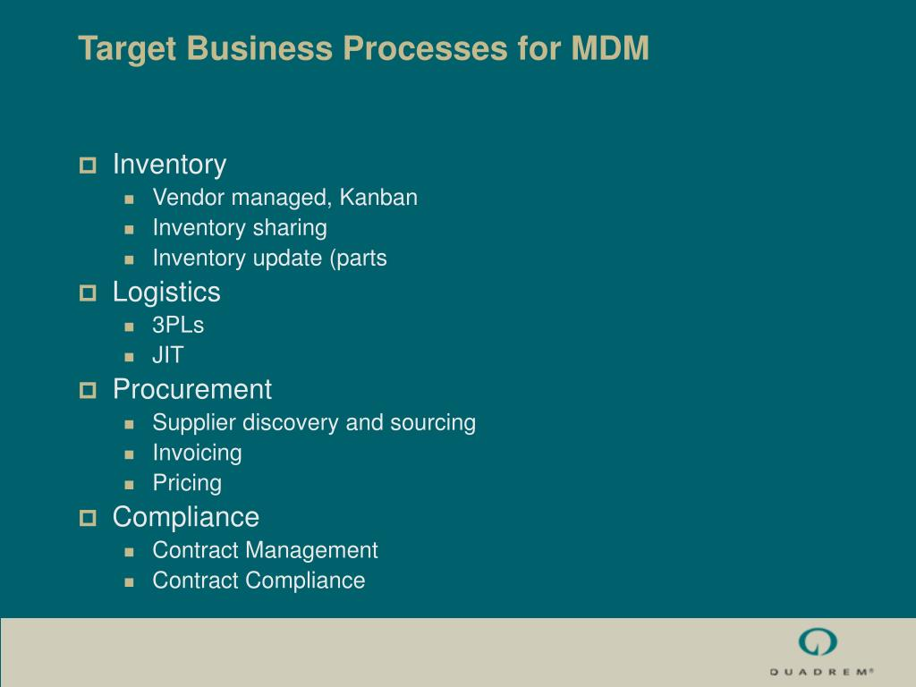 Target Business Processes for MDM