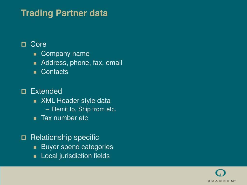 Trading Partner data