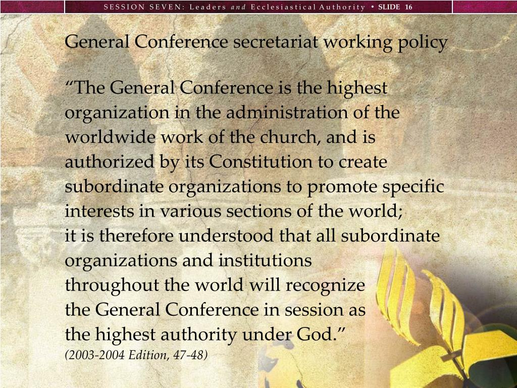 General Conference secretariat working policy