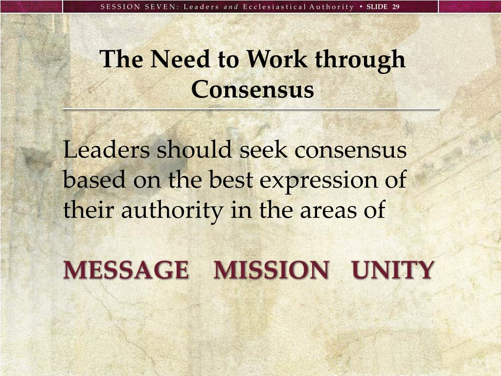 The Need to Work through Consensus