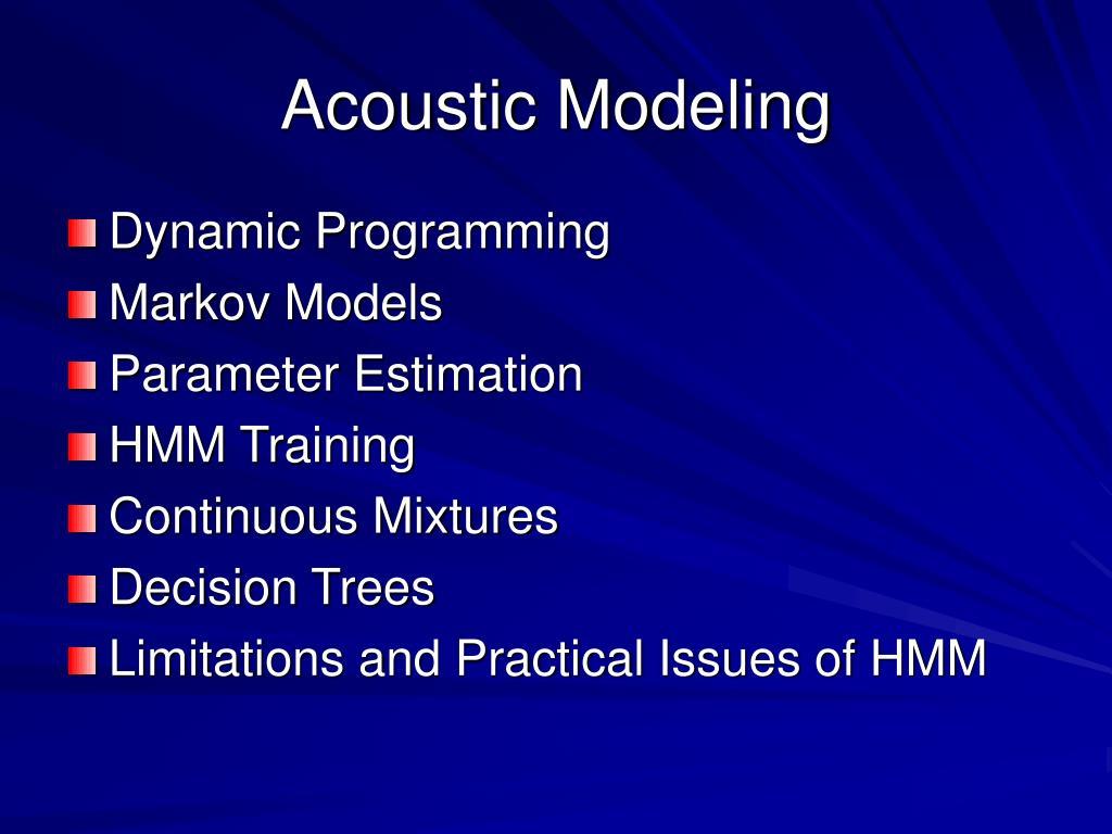 Acoustic Modeling