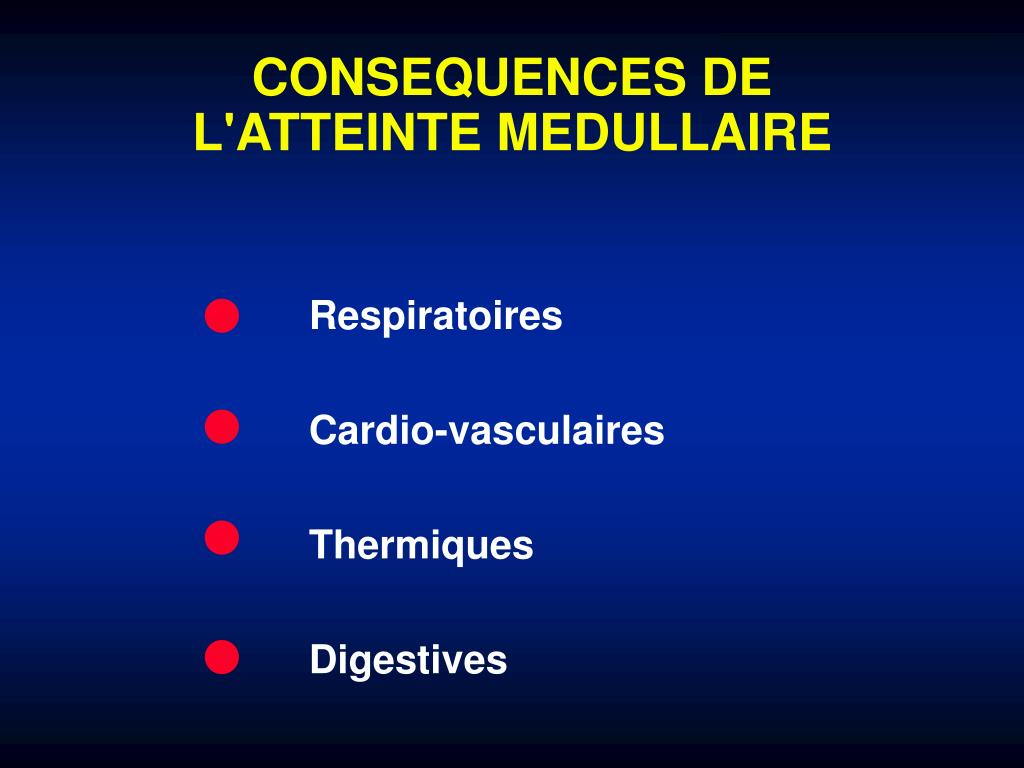 CONSEQUENCES DE L'ATTEINTE MEDULLAIRE