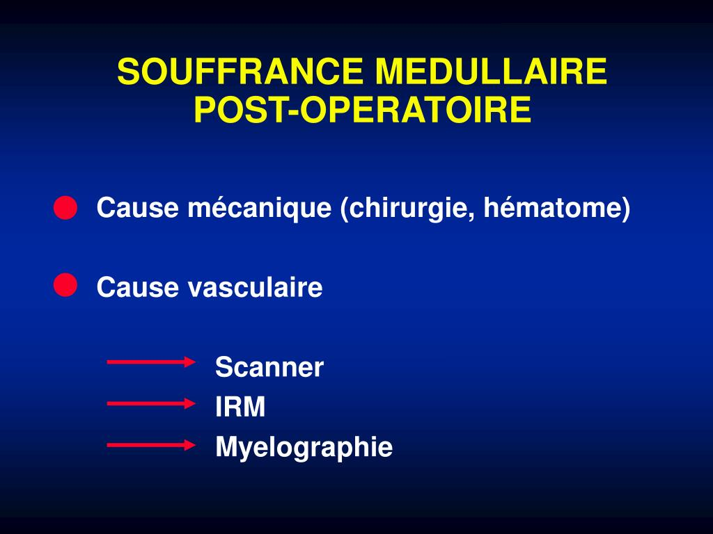 SOUFFRANCE MEDULLAIRE POST-OPERATOIRE