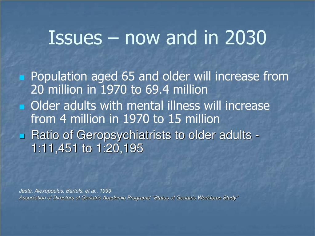 Issues – now and in 2030