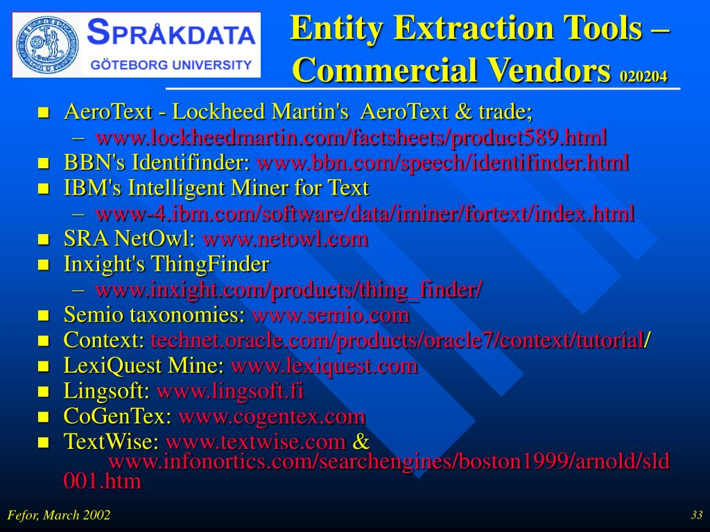 Entity Extraction Tools – Commercial Vendors