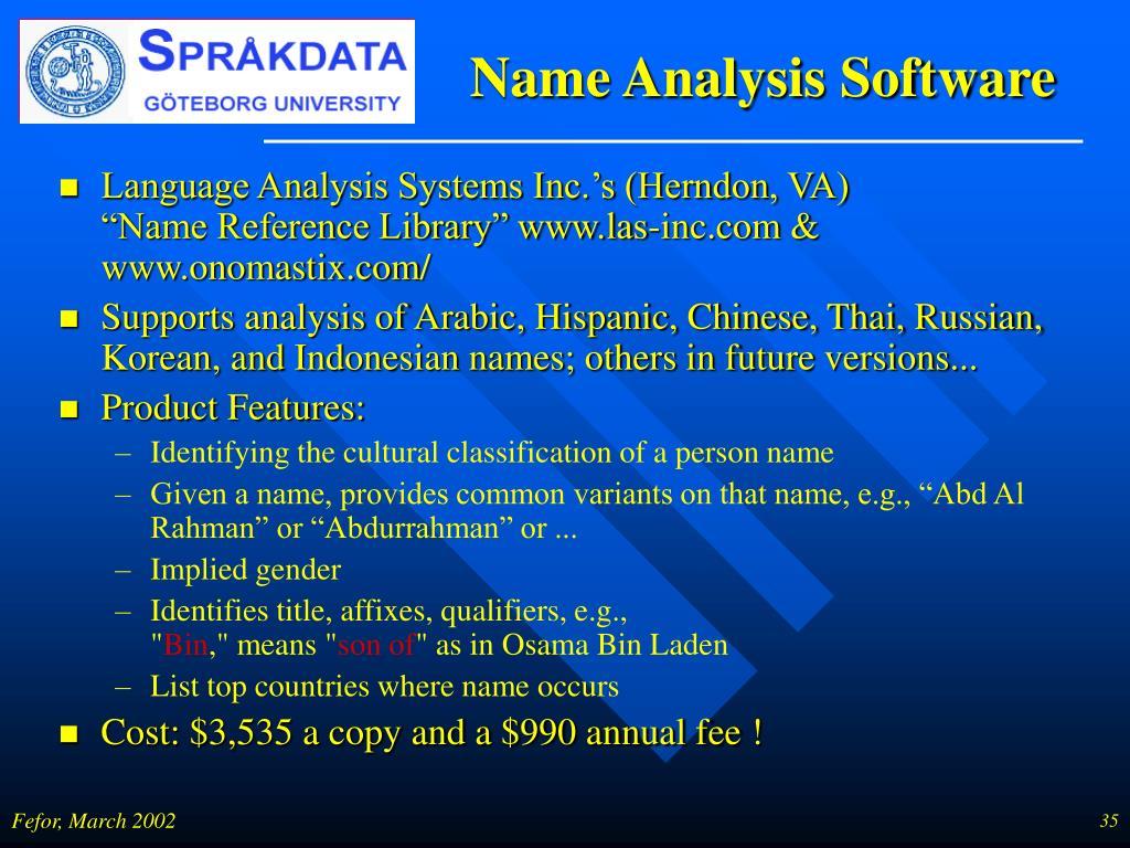 Name Analysis Software