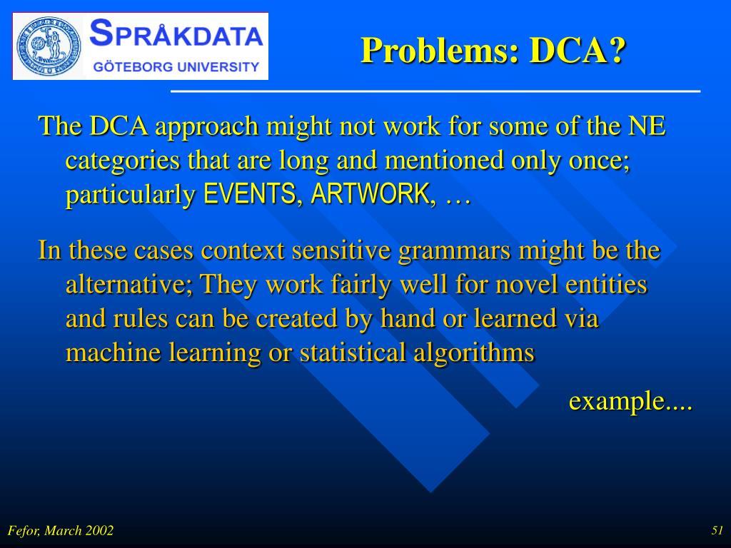 Problems: DCA?